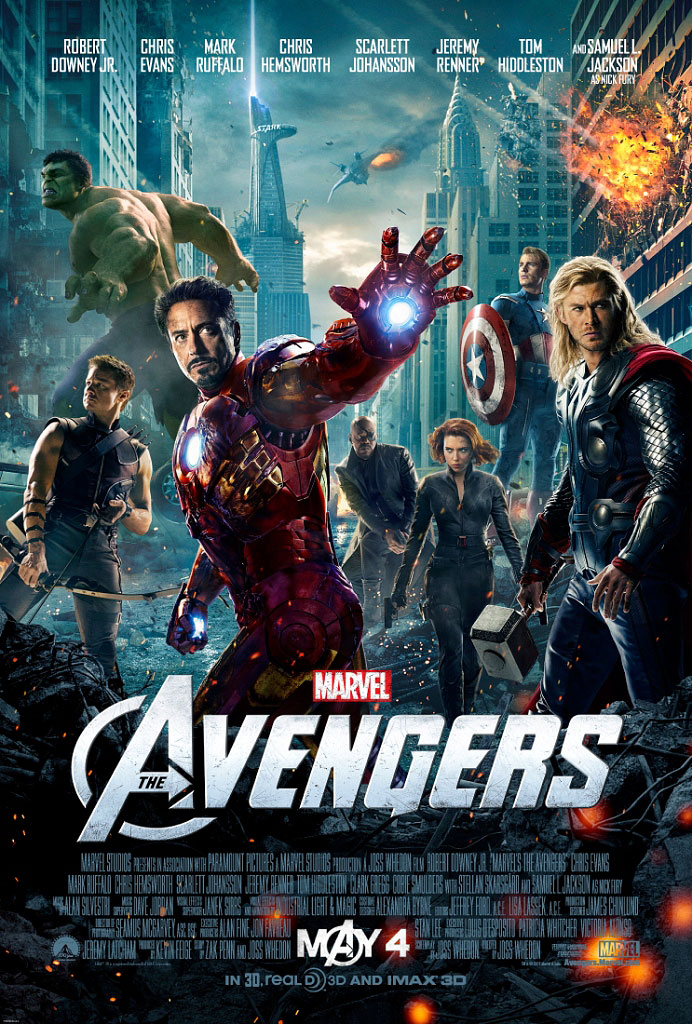 The Avengers Theatrical Poster - Robert Downey Jr, Chris Evans, Chris Hemsworth, Scarlett Johansson, Samuel L. Jackson, Jeremy Renner and The Hulk